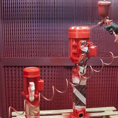 Electrobombas en cámara de pintura