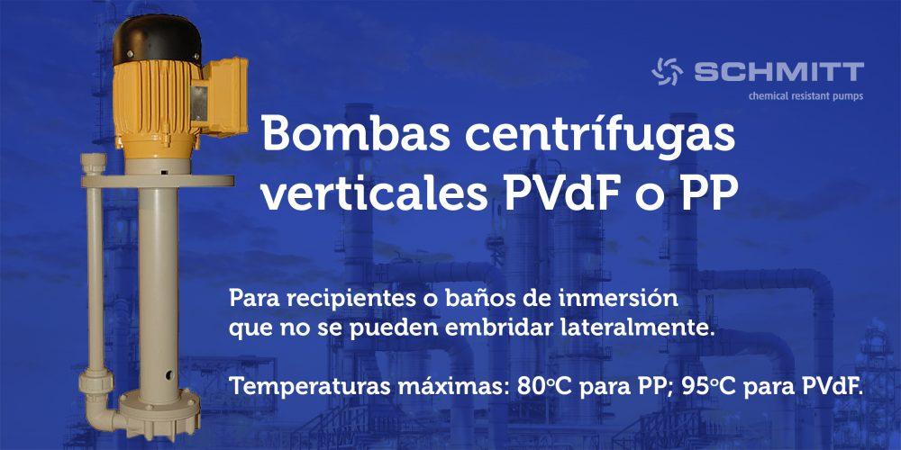 bombas centrifugas verticales PVDF o PP